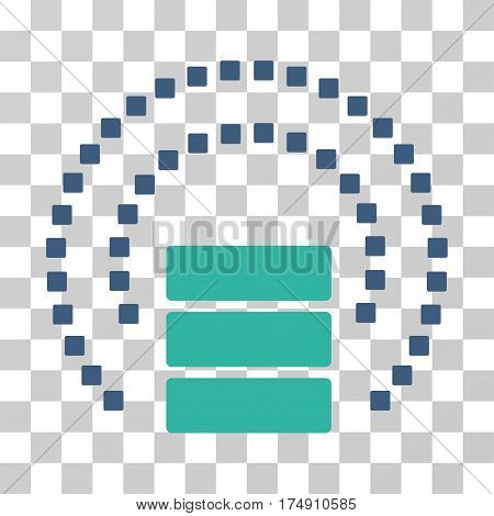 Database Sphere Shield icon. Vector illustration style is flat iconic bicolor symbol cobalt and cyan colors transparent background. Designed for web and software interfaces.
