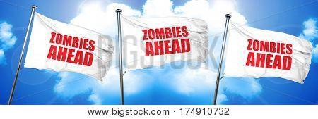 zombies ahead, 3D rendering, triple flags