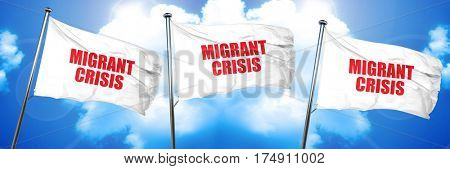 migrant crisis, 3D rendering, triple flags