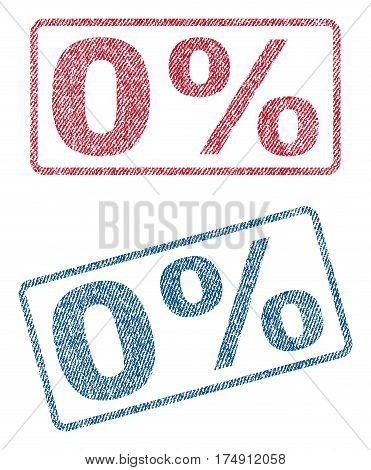 0 Percent text textile seal stamp watermarks. Blue red fabric vectorized texture. Vector caption inside rounded rectangular banner. Rubber sticker with fiber textile structure.