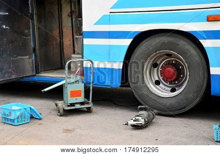 Tools And Equipment For Repairing And Fix Change Wheel Tire Of Bus Broken And Explosion On The Road