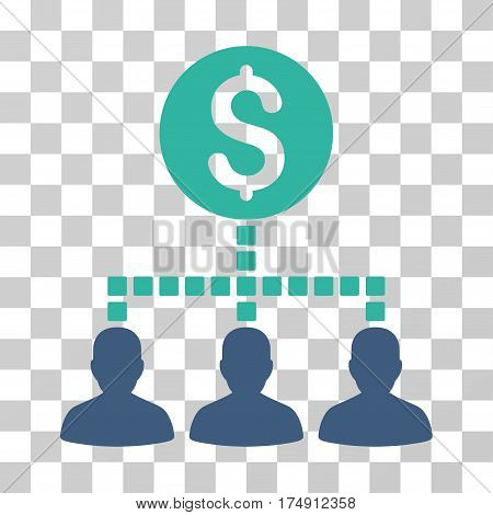 Money Recipients icon. Vector illustration style is flat iconic bicolor symbol cobalt and cyan colors transparent background. Designed for web and software interfaces.