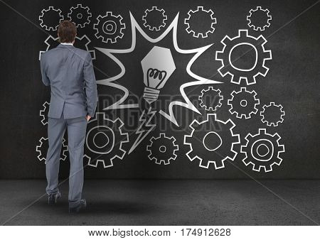 Digitally generated image of frustrated business professional reading on the blackboard
