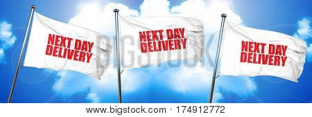 next day delivery, 3D rendering, triple flags