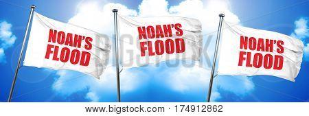 noah's flood, 3D rendering, triple flags
