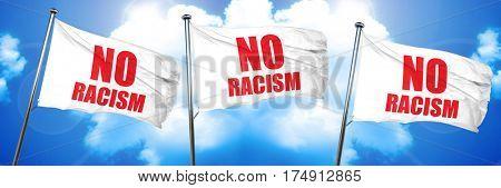 no racism, 3D rendering, triple flags