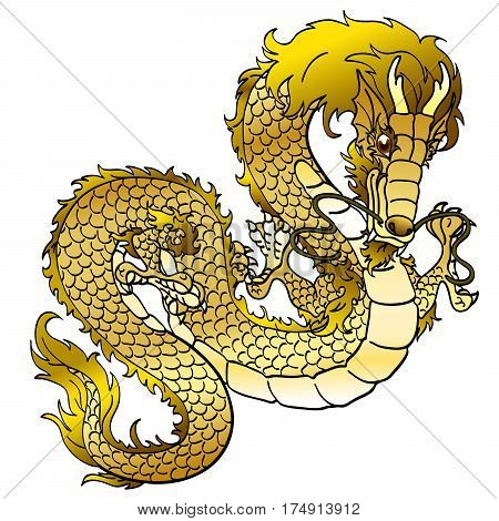 Glamorous golden metal Asian chinese dragon on white background. Cartoon monster traditional culture. Vector illustration isolated.