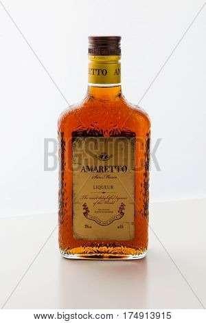 MOSCOW RF - FEBRUARY 10 2017: Bottle of Amaretto an almond flavoured Italian liqueur made with apricot pits.