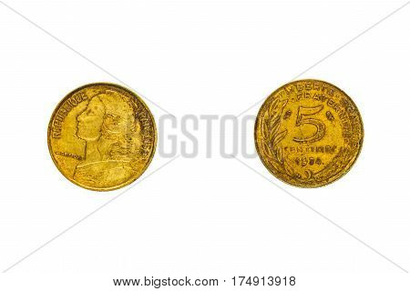 Obverse and reverse of the French coin in five centimes with the portrait of Marianne isolated on white top view flat lay.