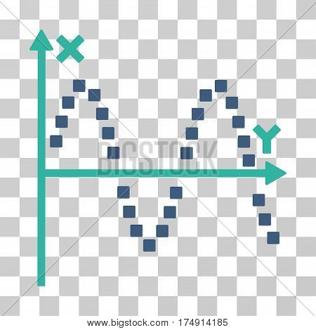 Sine Plot icon. Vector illustration style is flat iconic bicolor symbol cobalt and cyan colors transparent background. Designed for web and software interfaces.