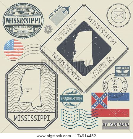 Retro vintage postage stamps set Mississippi United States theme vector illustration