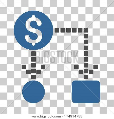 Cashflow icon. Vector illustration style is flat iconic bicolor symbol cobalt and gray colors transparent background. Designed for web and software interfaces.
