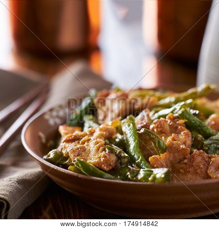 plate of chinese stir fried string bean chicken