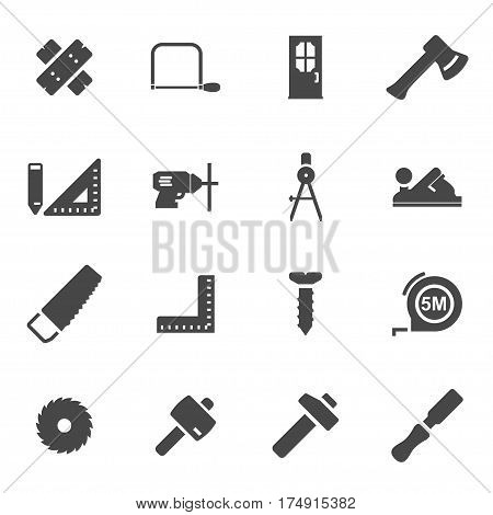 Vector black carpentry icons set on white background