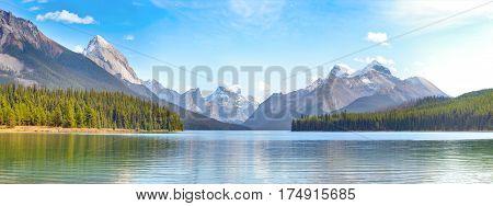 Maligne Lake panorama in Jasper national park, Alberta, Canada poster