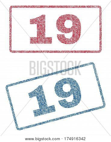 19 text textile seal stamp watermarks. Blue red fabric vectorized texture. Vector tag inside rounded rectangular banner. Rubber sign with fiber textile structure.