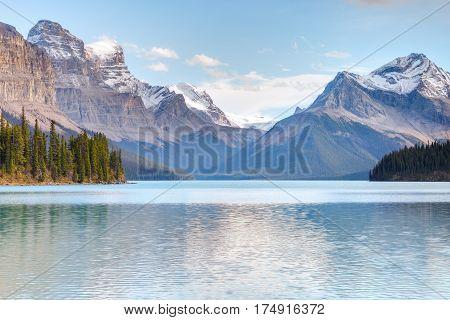 Maligne Lake in Jasper national park, Alberta, Canada poster