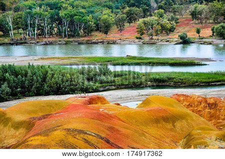 This place is called Colorful Beach, Colorful Beach Beach is a special landscape, long-term dry areas, prevailing winds. - not really a beach but a wind-formed geological wonder (Yardang landform in geological term) near Irtysh river in north Xinjiang pro