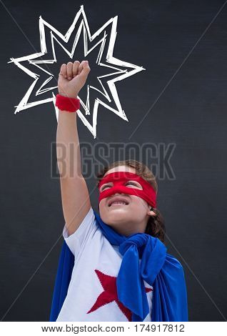 Digital composition of girl in superhero costume pretending to fly against black background