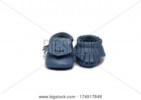 Childs Light Blue Booties On A White Background