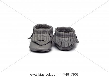 Childs Gray Booties On A White Background
