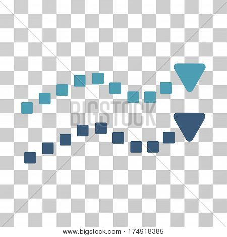 Dotted Trend Lines icon. Vector illustration style is flat iconic bicolor symbol cyan and blue colors transparent background. Designed for web and software interfaces.