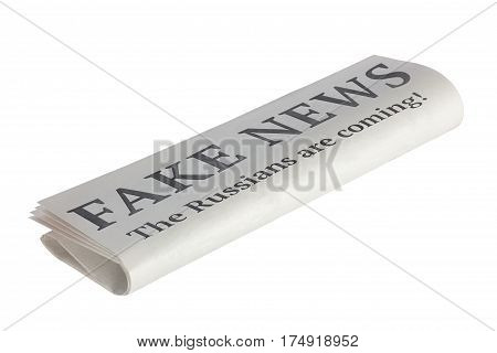 Newspaper with Headline of Fake News. The russians are coming! Isolated on White Background.