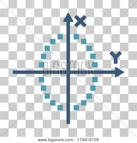 Ellipse Plot icon. Vector illustration style is flat iconic bicolor symbol cyan and blue colors transparent background. Designed for web and software interfaces.
