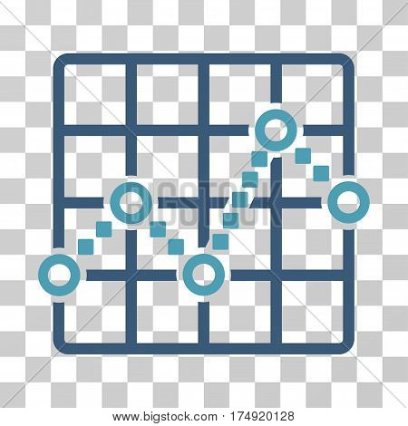 Line Plot icon. Vector illustration style is flat iconic bicolor symbol cyan and blue colors transparent background. Designed for web and software interfaces.
