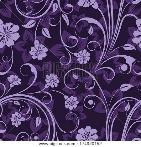 Seamless floral purple flower wallpaper pattern.