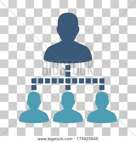 People Hierarchy icon. Vector illustration style is flat iconic bicolor symbol cyan and blue colors transparent background. Designed for web and software interfaces.