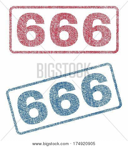 666 text textile seal stamp watermarks. Blue red fabric vectorized texture. Vector tag inside rounded rectangular banner. Rubber sign with fiber textile structure.