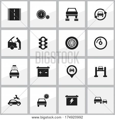 Set Of 16 Editable Transport Icons. Includes Symbols Such As Automobile, Car Lave, Tuning Auto And More. Can Be Used For Web, Mobile, UI And Infographic Design.