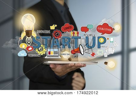 Business worker start up with light bulb. concept new ideas with innovation and creativity.