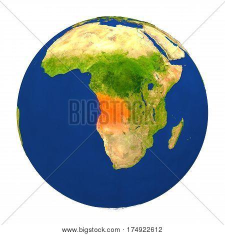 Angola Highlighted On Earth
