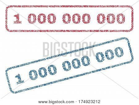 1 000 text textile seal stamp watermarks. Blue red fabric vectorized texture. Vector tag inside rounded rectangular shape. Rubber sign with fiber textile structure.