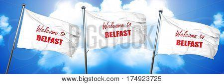Welcome to belfast, 3D rendering, triple flags