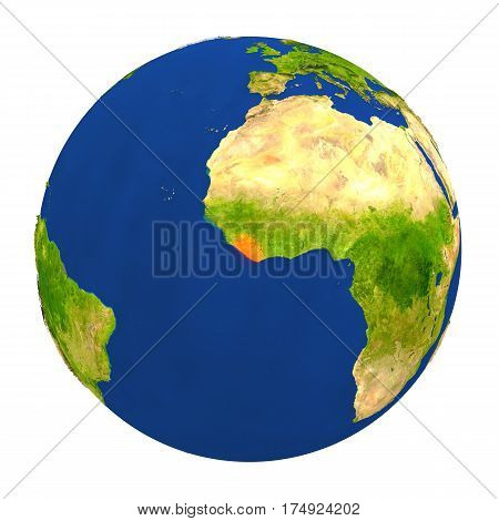Liberia Highlighted On Earth