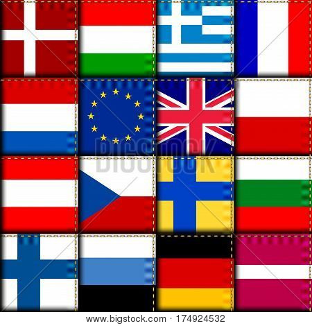Seamless background pattern. Imitation of a retro patchwork of a Europe flags with the UK flag.
