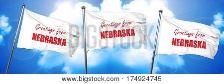 Greetings from nebraska, 3D rendering, triple flags