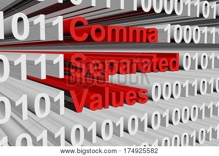 comma separated values in the form of binary code, 3D illustration