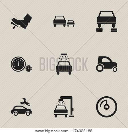Set Of 9 Editable Transport Icons. Includes Symbols Such As Vehicle Car, Auto Repair, Vehicle Wash And More. Can Be Used For Web, Mobile, UI And Infographic Design.