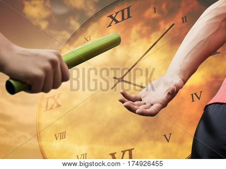Digitally composite of athlete passing the baton to teammate against clock background