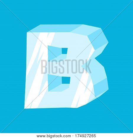Letter B Ice Font. Icicles Alphabet. Freeze Lettering. Iceberg Abc Sign