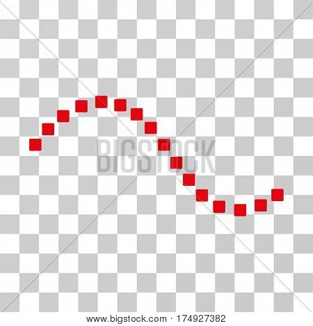 Dotted Function Line icon. Vector illustration style is flat iconic symbol intensive red color transparent background. Designed for web and software interfaces.