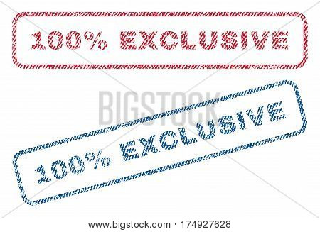 100 Percent Exclusive text textile seal stamp watermarks. Blue red fabric vectorized texture. Vector caption inside rounded rectangular shape. Rubber sign with fiber textile structure.