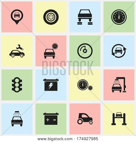 Set Of 16 Editable Transport Icons. Includes Symbols Such As Vehicle Wash, Automotive Fix, Car Lave And More. Can Be Used For Web, Mobile, UI And Infographic Design.
