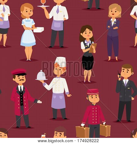 Hotel professions people workers happy receptionist standing at hotel counter and cute characters in uniform seamless pattern vector illustration.