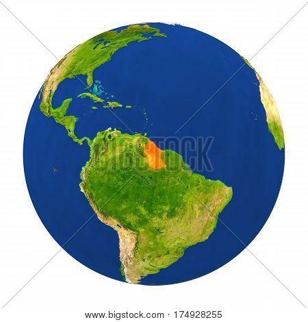 Guyana Highlighted On Earth