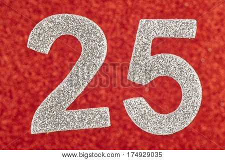 Number twenty-five silver color over a red background. Anniversary. Horizontal